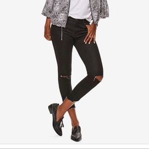 Free People - Cropped Distressed Skinny Jeans